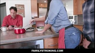 Big boob mom fuck in kitchen by son's huge cock