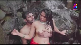 Indian Young couple having outdoor bath and romance